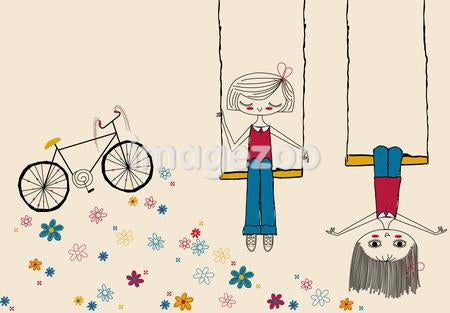A drawing of two children playing on swings and a bicycle and flowers in the background