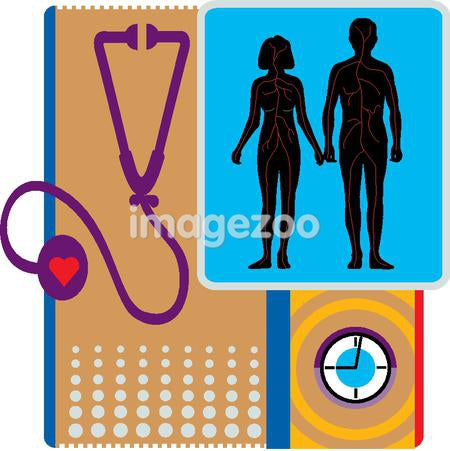 A stethoscope and a couple representing heart health