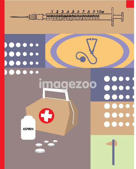 An illustration of the doctor's tools such as the medical bag, reflex hammer, stethoscope and syringe