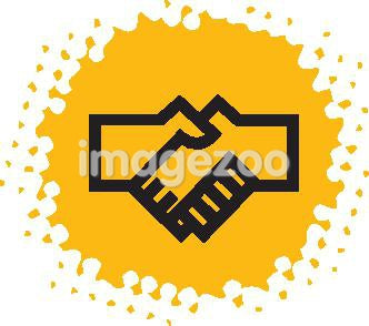 Drawing of a handshake on yellow background