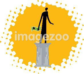 A person holding money while standing on a pedestal