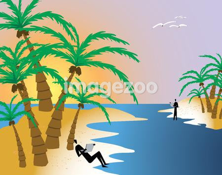 A man leaning on a palm tree using a laptop while on a tropical island