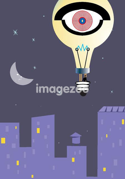 A man in a hot air balloon that looks like a lightbulb,