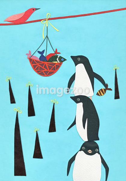 Penguins collecting fish