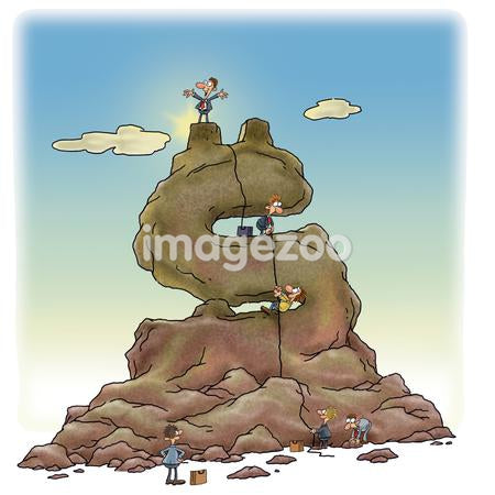 Business people climbing a mountain that is shaped like a dollar sign