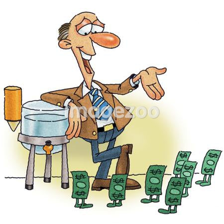 A man having a water cooler talk with money