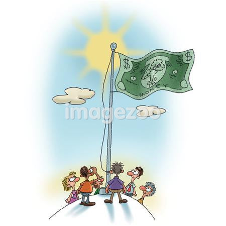 A group of people looking up at a money flag