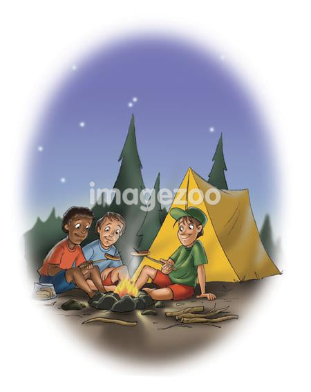 Three boys by a camp fire at night