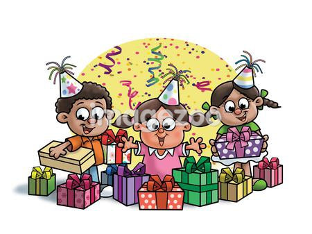 Three children at a birthday party surrounded by birthday presents