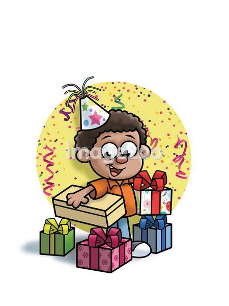a boy with birthday presents