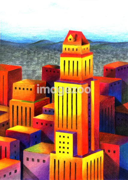Illustration of high rise buildings