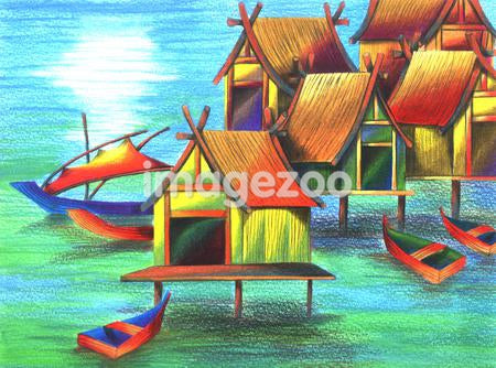 Illustration of Malaysian stilt houses