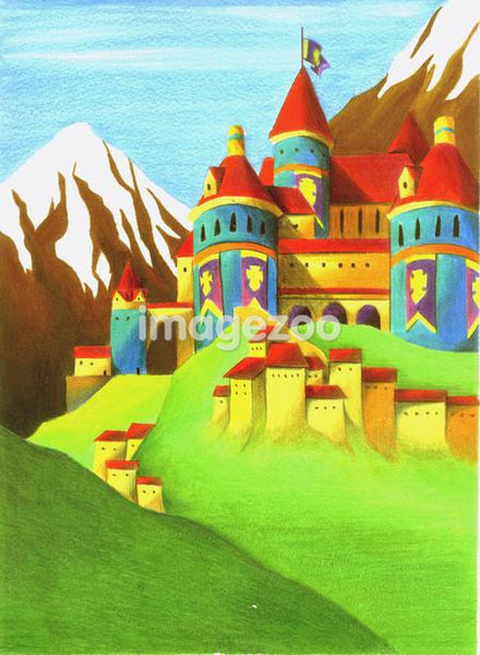 Illustration of castles on a mountain slope