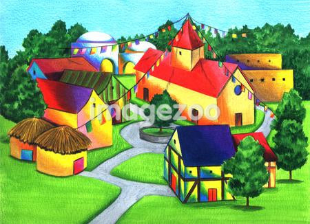Illustration of buildings in a community