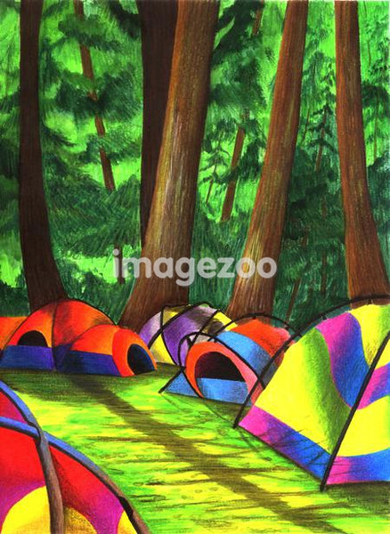 Illustration of tents at a campsite among trees