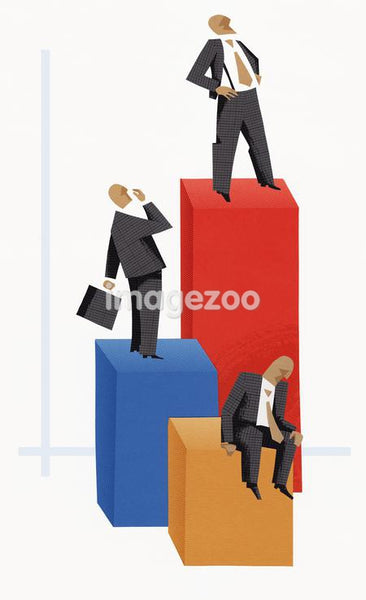 Three businessmen on top of bar graphs