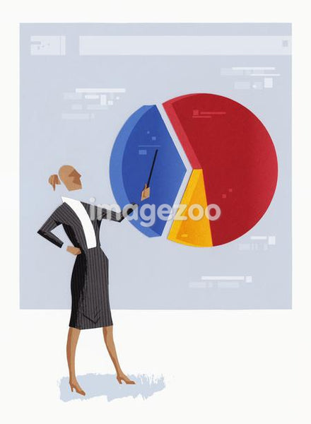 A businesswoman pointing to a segment of a pie chart
