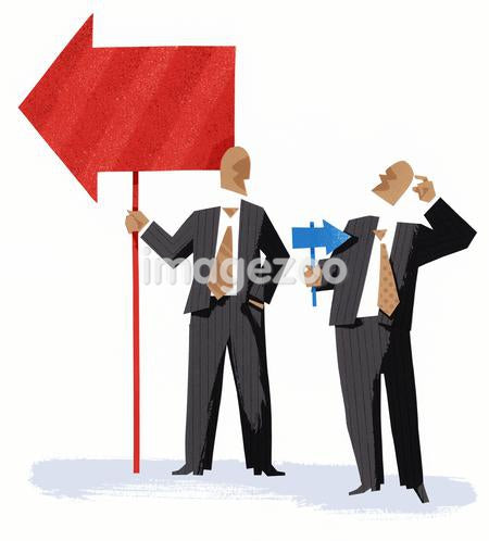 One businessman holding a large arrow and another businessman holding a small arrow