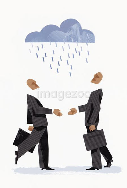 Two people about to shake hands as they stand under a rain cloud