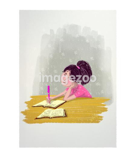 A girl writing in a journal