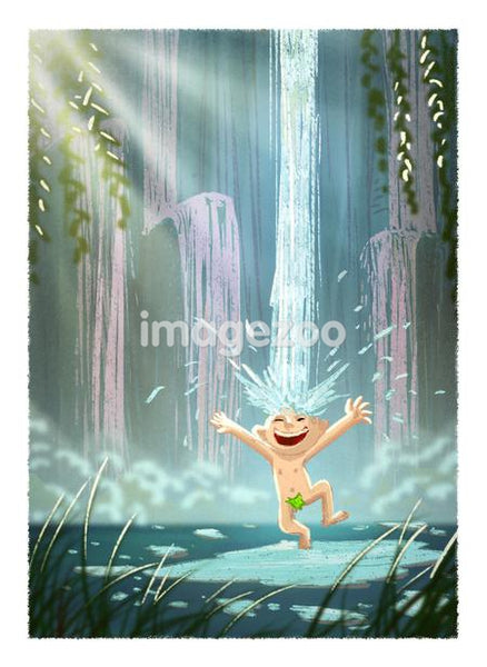 A boy splashing around near a water fall