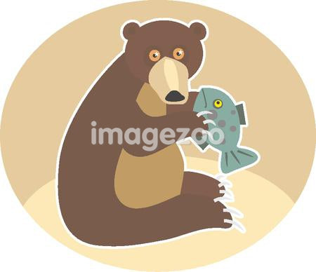 Illustration of a grizzly bear eating fish