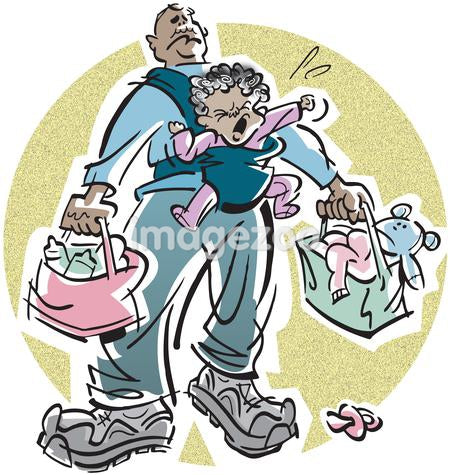 A father carrying two bags and a crying baby that has lost her soother