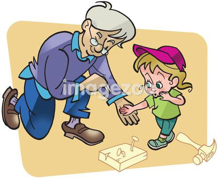 An old man helping a little girl remove a wood splinter from her hand