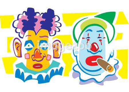 Two colorful clowns with painted faces, one smoking a cigar