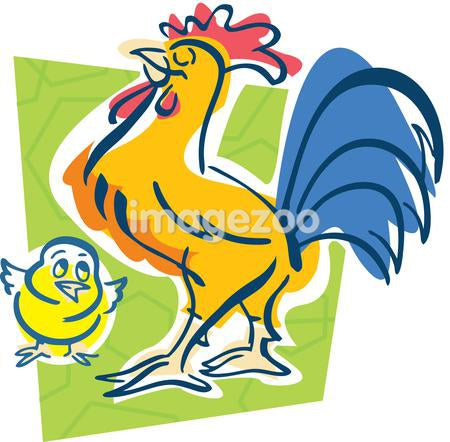 A rooster and a chick
