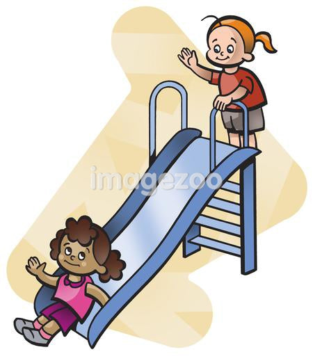 Two girls playing on a slide