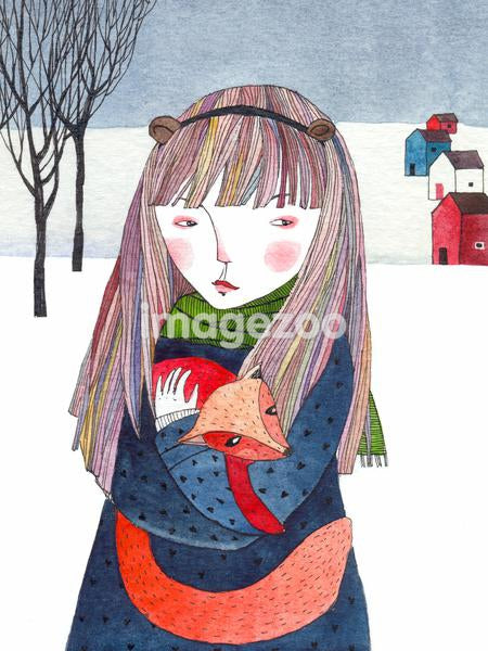 A girl holding a fox in a snowy landscape