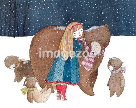 A girl with a family of bears in the snow