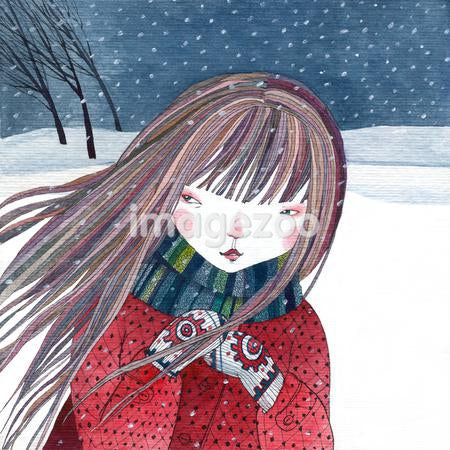 A girl with long hair wearing mittens and a scarf in the snow