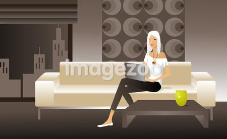 Illustration of a woman sitting on a sofa with a laptop computer