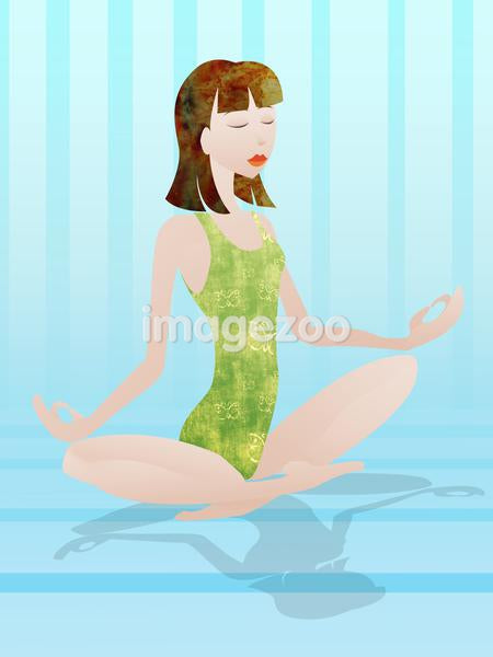 A woman doing yoga in the lotus position