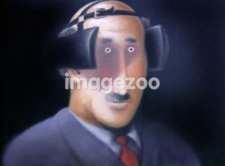 A business man wearing blinders