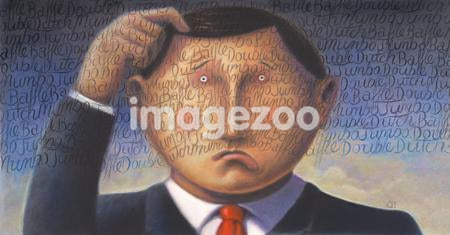 A confused business man scratching his head with writing over his face