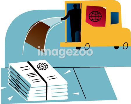 Silhouette of a man in van dropping newspapers hot off the press