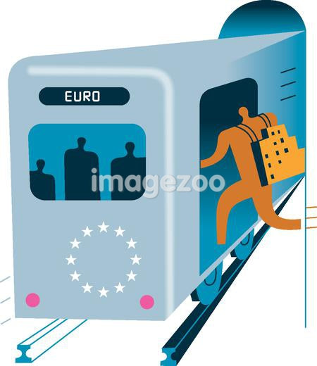 Silhouette of a man boarding a train in Europe