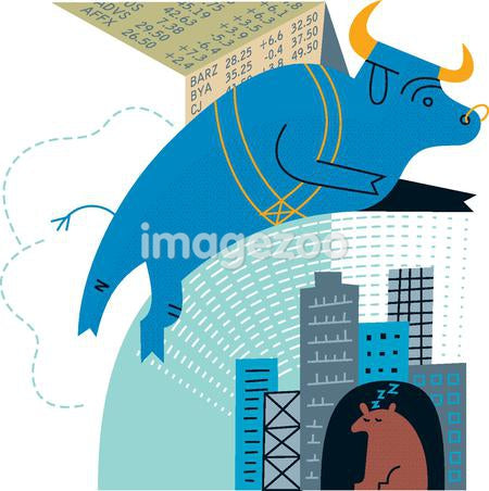 A bull leaping over a sleeping bear, signifying a bull market
