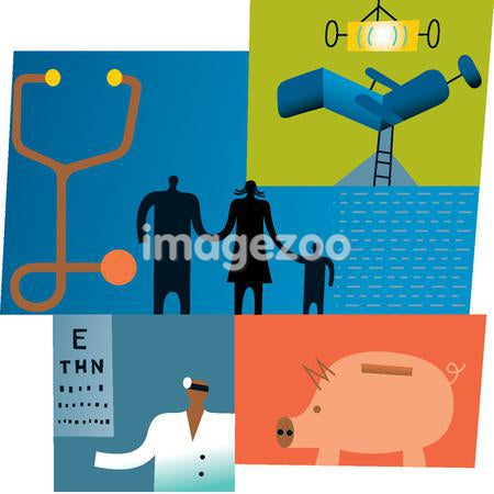 Collage depicting a couple and the cost of health insurance