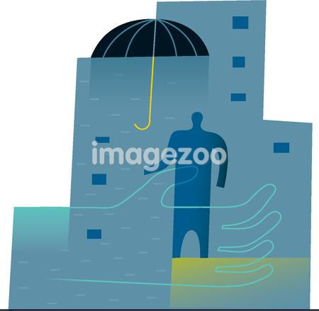 Man standing under an umbrella with a giant hand, illustrating the Insurance business
