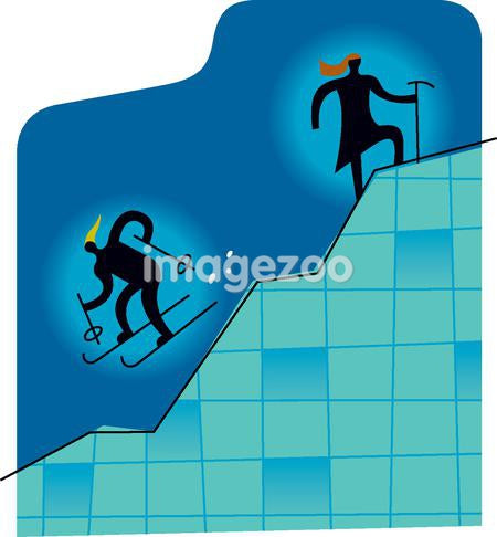 Two skiers on a line graph depicting Slow up, fast down