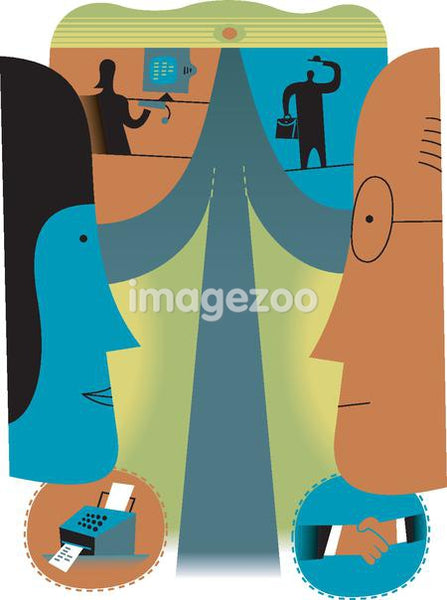 Profiles of a man and woman looking at one another, to symbolize different ways of communication