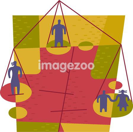 People standing on a three-panned scale depicting the balancing of family
