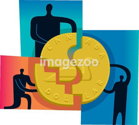 Three people joining the pieces of a puzzle to form a large gold coin