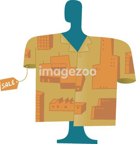 A shirt for sale that has buildings printed on it