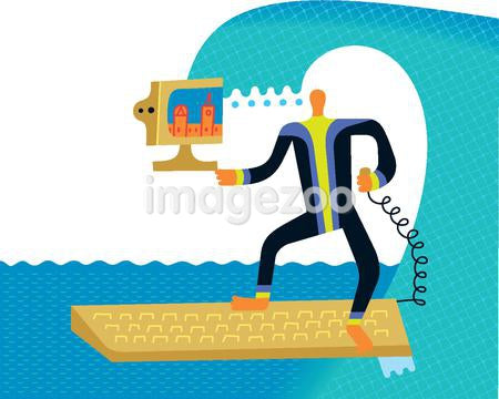 Surfing the net - a man with a computer on a surfboard