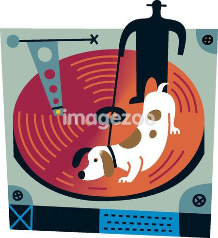 A dog sniffing a giant disk with a man holding its leash in the background